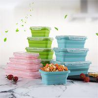 Раскладной коробки обеда силикона складывая прямоугольник складной Бенто коробка пищевых контейнеров миску 350/500/800/1200 мл 4шт/ комплект dinnerware