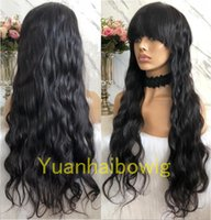 Natural Color Glueless Front Closure Wig with Bang Malaysian...