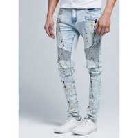 Moda tendenza Hiphop Mens Designer Lavato Blue Jeans Drappato Distressed Long Spring Man Street Jean Pants