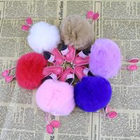 Coelho bonito Fluffy Pompom Flamingo Keychain Mulheres Faux Fur Cadeia Bola Pompon chave do carro Bag Pom Pom Key Rey Anel Titular Partido RRA2829-1 Favor