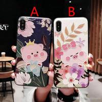 Geprägte Blume Schwein Handyfallabdeckung für iphone XS max Xr X 7 7plus 8 8plus 6 6Plus 6S TPU + PC