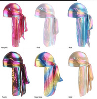 Unisex Deluxe Silky Durag 2019 Nuovo stile Headwraps extra long-tail Pirate Cap 360 Waves Du-RAG Durags per uomo e donna Cappello Hip Hop