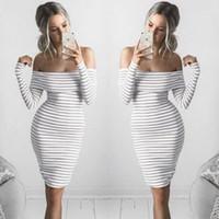 Bandage Sexy Femmes Body-con Slash cou rayé à manches longues robes de soirée de courte Mini robe