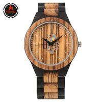 Redfire Vintage Mode Holzherrenuhr Minimalist Unregelmäßige Schnitzen Dial kühle männliches Holz-Armbanduhr-Quarz-Uhren Geschenk
