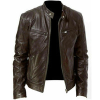 Winter Warm Black&Brown Leather Jacket Fashion Men Slim Fit ...