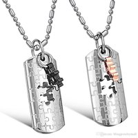 Fashion Jewelry Puzzle Personalized Titanium Lovers Necklace Best Selling Stainless Steel Pendant GX625