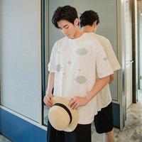 EWQ / erkek giyim yaz kısa kollu erkeğin moda kısa kollu gevşek kore tarzı baskılı tişört büyük boy tee 9Y2902 başında