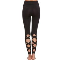 Sexy Women Yoga Leggings Female High Waist Openwork Cross Po...