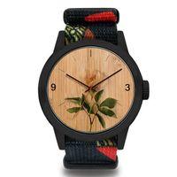 Banda verdadera madera de bambú del reloj mujeres de los hombres de impresión de las flores de madera relojes de cuarzo de cuero elegante reloj de pulsera para las señoras niñas regalo