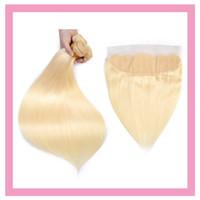 Indisches Reines Haar 3 Bündel mit 13x4 Spitze Frontal mit Baby-Haarverlängerungen Gerade Blondine 613 # Farbe Großhandel 4 Stück