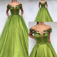 Elegant Green Off The Shoulder Formal Evening Dress 2019 App...