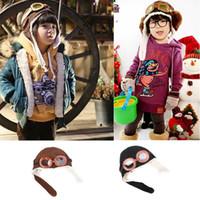Sevimli Bebek Bebek Erkek Kız Çocuk Pilot Cap Sıcak Şapka Kış kulaklığı Beanie Melee Şapka Hediyeler 2styles RRA2103