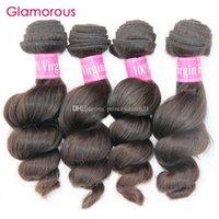 Glamouröse natürliche Farbvirgin Brasilianisches Haar Lose Welle 4 Bündel Mix Länge 8 Zoll bis 34 Zinch Peruanisches malaysisches indisches Remy-Haar-Gewebe