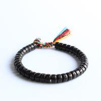 Buddista tibetano intrecciato a mano filo di cotone nodi fortunati braccialetto naturale perline di noce di cocco intagliato Om Mani Padme Hum braccialetto J190703