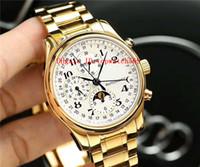 Nuevo Master Collection reloj para hombre relojes suizos 7751 calendario anual cronógrafo automático Fase de la luna de cristal de zafiro de 18 quilates de oro CNC 316L Stee