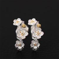 925 الفضة بلوم وأقراط أنثى العرقي اليدوية تزهر زهرة حلق الزفاف للحصول على هدايا المرأة الأم