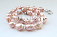 "18"" 18"" Big size 14- 21mm pink baroque freshwater p..."