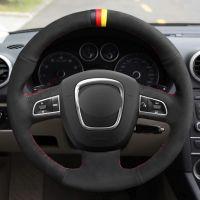 Capa de volante de carro de camurça preta para Audi A3 (8p) 2008-2013 A4 (B8) 2008-2010 A5 2008-2010 A6 (C6) 2007-2011