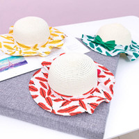 2019 new Summer feather Girls Straw Hat kids Bucket Hat Baby...