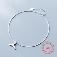 Yeni Moda Denizkızı hakiki 925 Gümüş Charm Balık Kuyruk Halhal İçin Kadınlar Hediye Toptan İtalyan Ayak Takı Ücretsiz Kargo