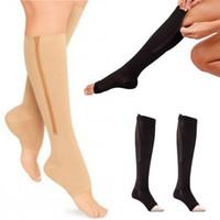Женщины на молнии сжатия носки удобные Zip ноги поддерживают колено SOX открытый носок Sock S / M / XL падение доставки новейшие