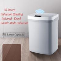 Touchless Automático Inteligente indução Sensor de Movimento Kitchen Trash Can ampla abertura Sensor Eco-friendly de lixo Resíduos Bin