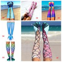 Sereia 3D Imprimir Socks Cauda da sereia Praia Meias Senhora Sereia Meias Moda Knee High Socks Escalas de peixes Sock longo de inicialização Meias DBC VT1237