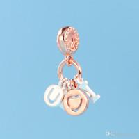 Новый 925 серебро и розовое золото покрытием письмо любовь кулон Шарм оригинальная коробка для Pandora DIY браслет ожерелье ювелирные изделия аксессуары подвески