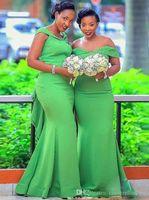 2020 barrido hombro Verde africano de la sirena vestidos de dama Off Cuentas Tren más el tamaño de las colmenas del país huésped de la boda de la tarde de baile vestido barato