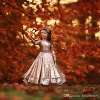 로즈 골드 스팽글 긴 소매 유아 작은 소녀 미인트 드레스 2019 새로운 꽃 아기 소녀 첫 번째 생일 드레스