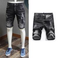 Chico fresco Pantalones cortos de mezclilla negros 2020 s / s Batir la batalla de shipping Patch Skinny Fit Jean Short para hombres