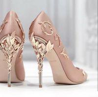Festa da sera da sposa PROM SCARPE RAlph Russo Gold Gold Borgogna Confortevole Designer Silk Silk Stain Eden talloni Scarpe per le scarpe da sposa da sposa
