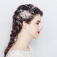 Organza tejido a mano peine de novia Vine Perlas Barrettes de cristal Mujeres Pinzas para el cabello Accesorios para el cabello de la boda Postizos de novia JCF036