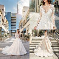 2019 eddy k a ligne robes de mariée dentelle appliquée balayer train manches longues plage boho robe de mariée bijou plus size robe de mariée robe