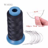 Hook Cheap 1 rotolo filo tessitura capelli neri ad alta intensità Poliammide 12pcs discussione 9cm tessitura / tipo aghi C / ago curvo