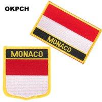 Монако красный и белый вышивка железа на флаг патчи национальный флаг патч для одежды DIY украшения PT0132-2