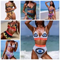 Eye Letter Printed Swimwear 2pcs set 8 Colors Women Two- Piec...