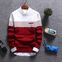 3 цвета мужские трикотажные свитера цвета Matching Stripes O-образным вырезом Повседневная Зимний свитер с длинными рукавами Мужской шерстяная рубашка Atutumn Mens Pullover