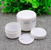 250g 100g 50g PP Plastikglas für kosmetische Creme Silber Folienprägen Box Mini Reise-Größe Container für die Probe SN1036