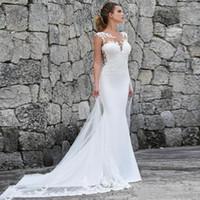 2021 Vestidos de novia Blanco Sirena con encaje Plus Tamaño Vestidos nupciales Vestidos de Boho Vestido Playa Gótico Crece