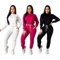 Zwei stück Kleid Echoine Herbst Winter Frauen Trainingsanzug 2 Set Crop Top Hosen Sportwear Matching Workout Sweat Suits Jogging