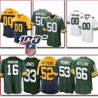 16 Jake Kumerow Yeşil özel Bays Mens Jersey Packer 33 Aaron Jones 92 Reggie Beyaz 76 Mike Daniels 69 David Bahtiyari 50 Blake Martinez
