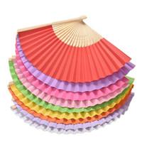 9 الألوان 1PCS صيف الصينية اليد المشجعين ورقة جيب قابلة للطي الخيزران مروحة مراوح يدوية الزفاف للطي الصينية