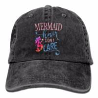 Yetişkinler Caps Mermaid Saç Bakım Yok Denim Beyzbol Kapaklar Yürüyüş Bill Caps Yıkanmış Dimi Şapka Caps