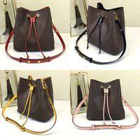 En kaliteli omuz çantası renkli dana derisinden İpli ve kayış aksan Marka Bayan kova çanta bayanlar NEONOE torbaları 44022 nedensel