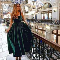Vintage Tea Length Cocktail Vestido Elegante 2020 Querida Dark Green Velvet Mulheres formal do partido de curto Vestidos linha de vestidos