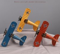 Large Vintage Biplane Model Figurines for Home Decor Metal I...