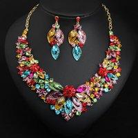 Flower African Bridal Jewelry Sets Mujeres Big Crystal Declaración Collar Pendientes Set Joyería de Boda Moda Rhinestone Choker