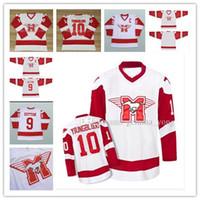 Bon marché, 10 doyen, jeuneblood Hamilton Mustangs Muve Ice Hockey Jerseys 9 Sutton Tous les uniformes Stechés Livraison rapide Haute Qualité Blanc
