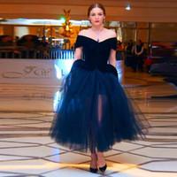 Vestidos de fiesta azul marino 2015 Fuera del hombro Vestido de tutú para adultos Longitud del té Tallas grandes para mujer Vestidos de noche para fiestas formales